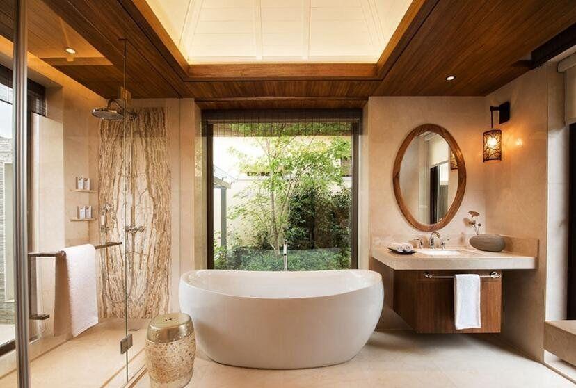 新中式卫生间浴缸装修设计图片