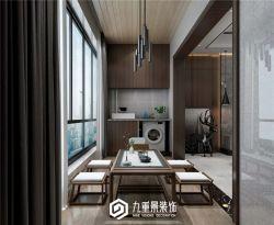 新中式陽臺茶室裝修設計效果圖片