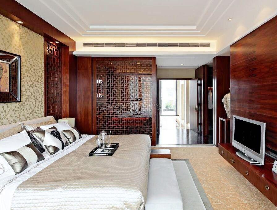 小洋房别墅中式别墅电视墙设计图卧室问题装饰图片