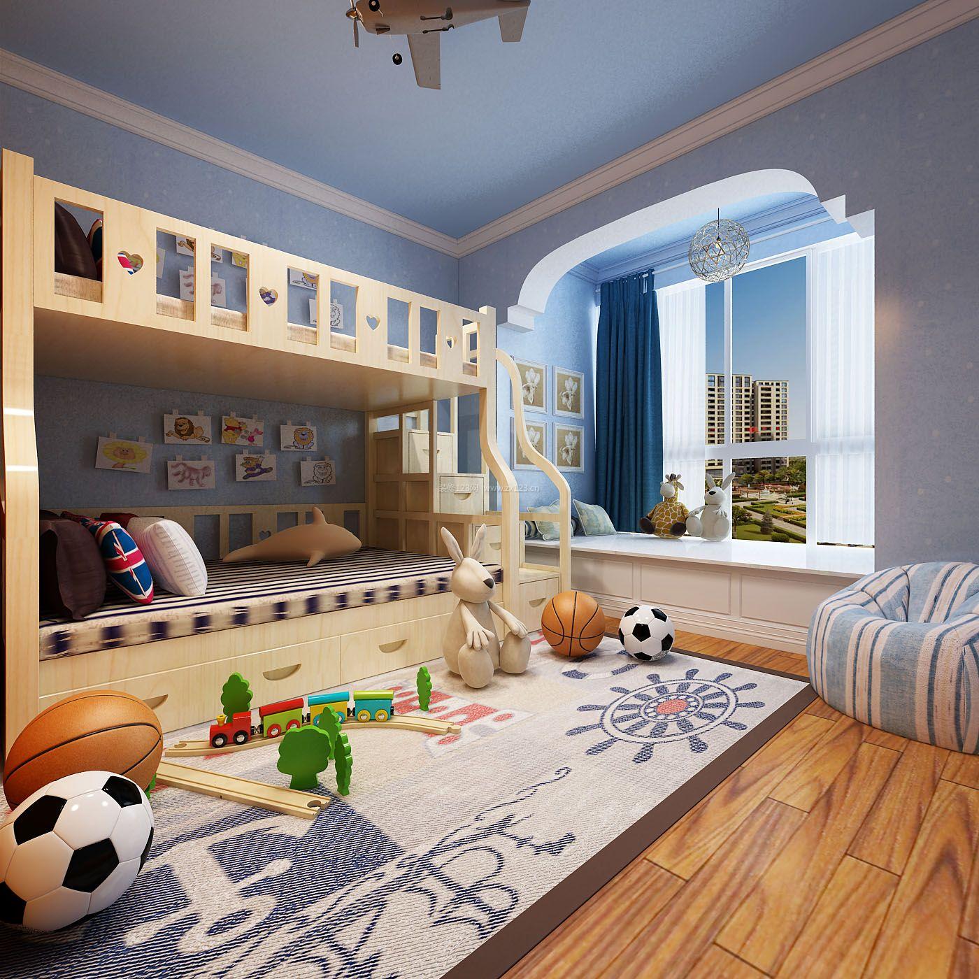 2018简约地中海5平方儿童房上下床设计效果图_装修123