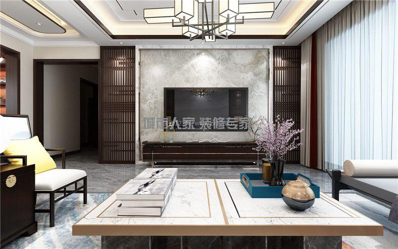 2018大气新中式风格客厅设计装修图片 2018三居客厅装修效果图