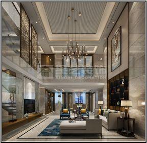 2018后现代新中式客厅装修效果图 2018别墅挑高客厅吊顶装修效果图