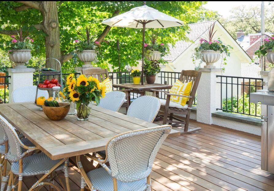 欧式小别墅屋顶露台花园设计实景图_装修123效果图