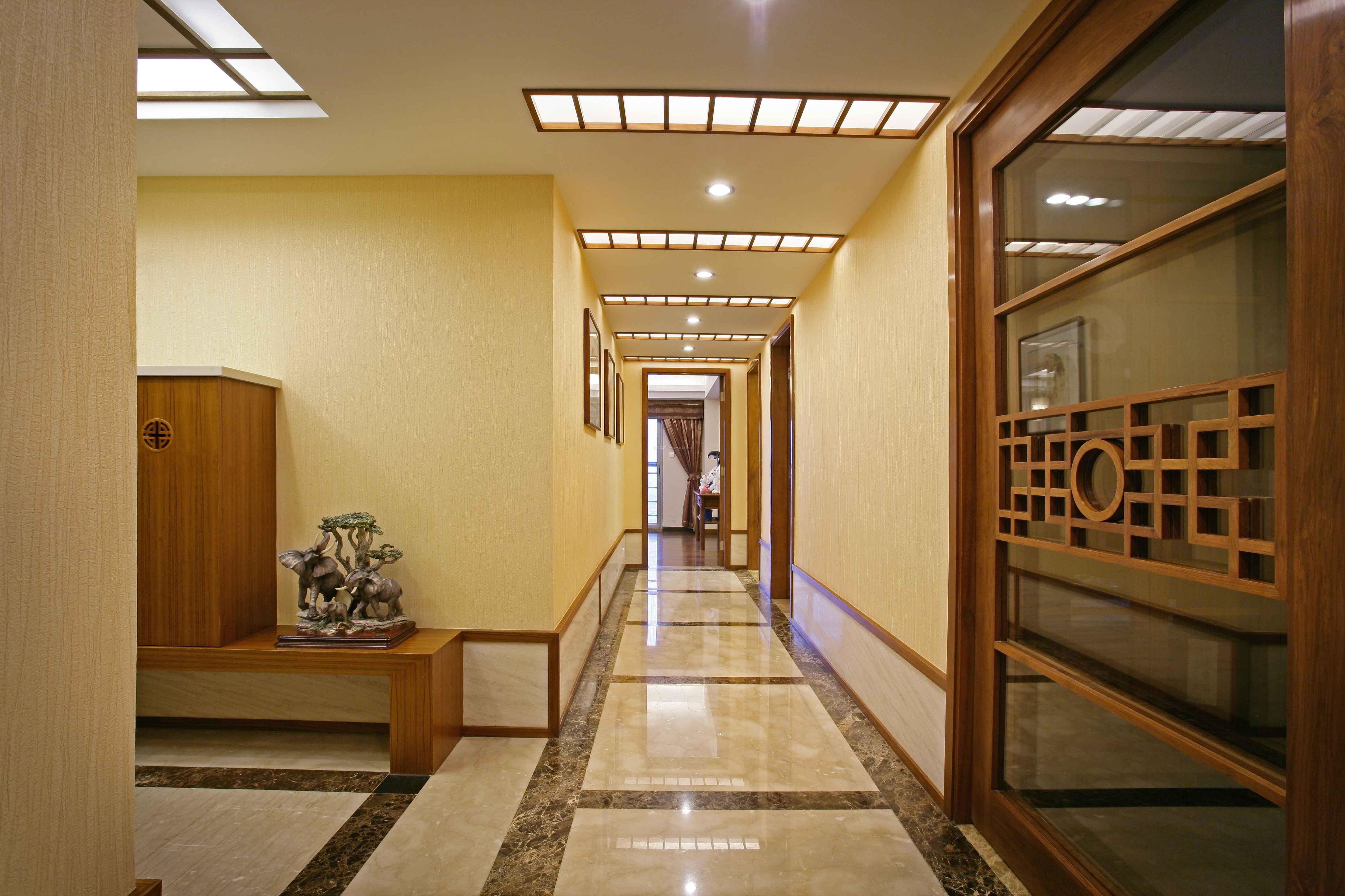 2018现代中式风格家装过道走廊吊顶设计效果图