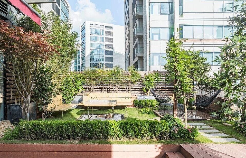 2018屋顶露台绿化装饰设计实景图欣赏_装修123效果图