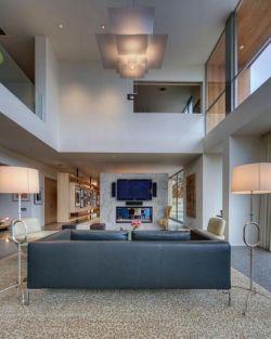 中空別墅客廳燈具簡約設計裝修圖片
