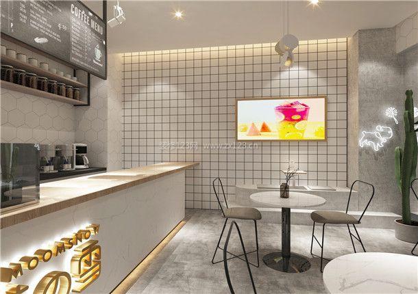 2018奶茶店室内吧台设计案例_装修123效果图