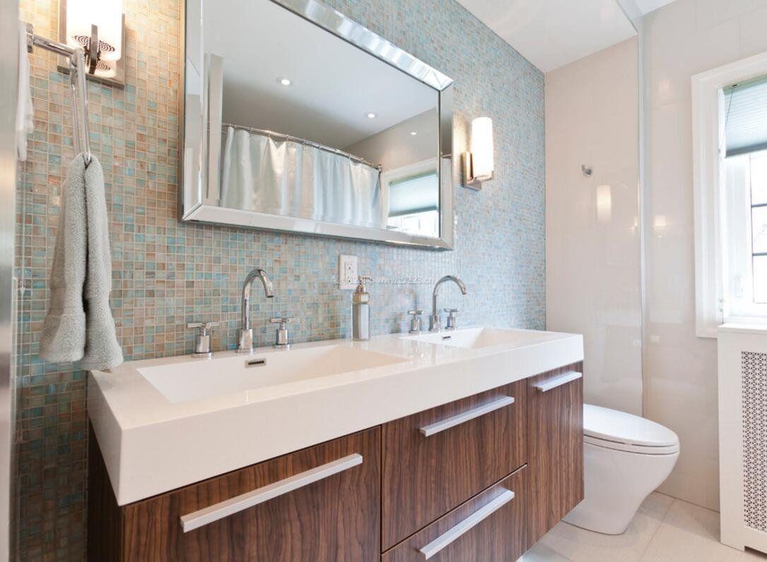 2018家庭洗手间室内马赛克背景墙设计图_装修123效果图