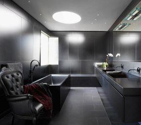 黑色衛生間裝修效果圖  衛生間黑色裝修效果圖 2018衛生間黑色地磚