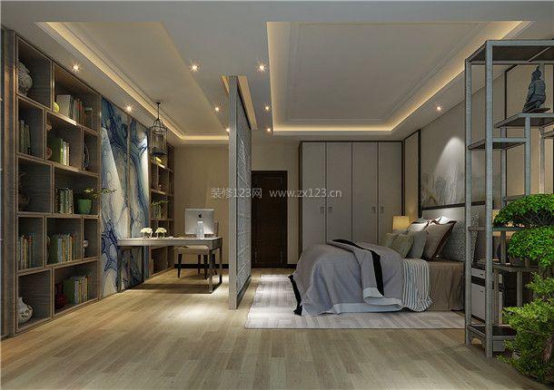 2018大户型新中式卧室书房装修效果图