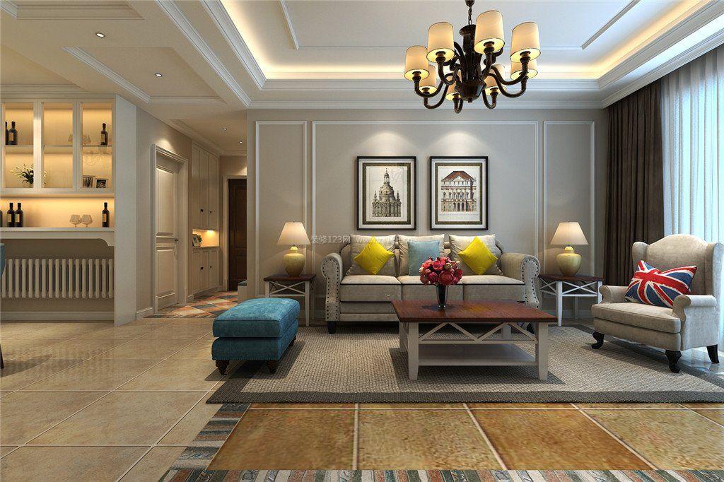 美式风格样板房客厅地砖装修效果图图片