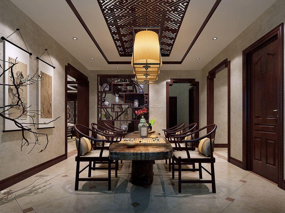 家庭中式餐厅餐桌设计效果图