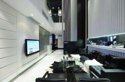 現代簡約風復式樓簡約黑白客廳設計圖片