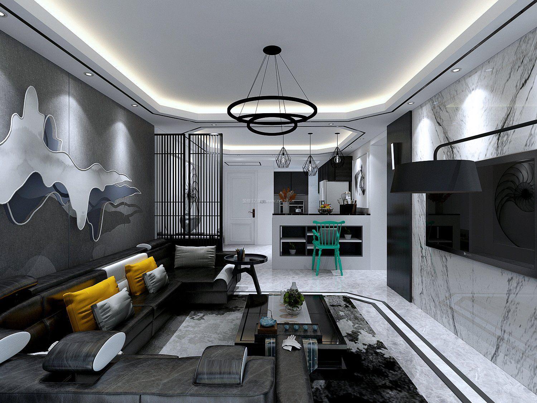 150平米黑白客厅装修设计效果图图片