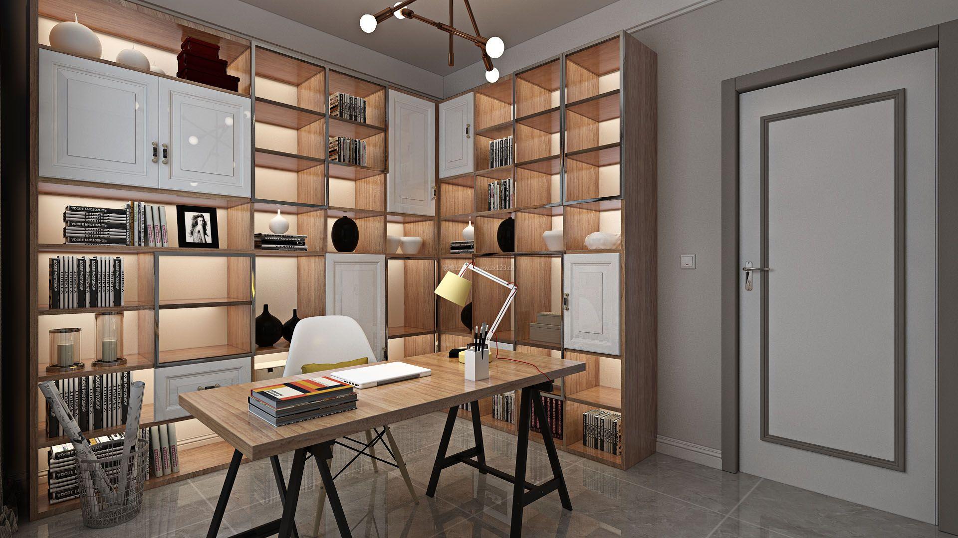 2018普通书房简约开放式书柜装修效果图片图片