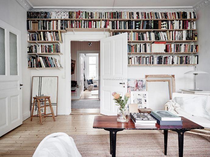 2018北欧简约客厅书架装修效果图图片
