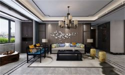 英倫城邦新中式122平四居室客廳裝修案例