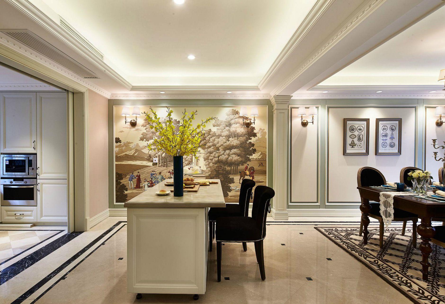 后现代家居橱柜中岛台装修设计图片