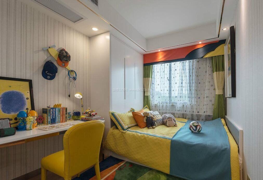 后现代家居儿童房卧室书房一体设计图片_装修123效果图