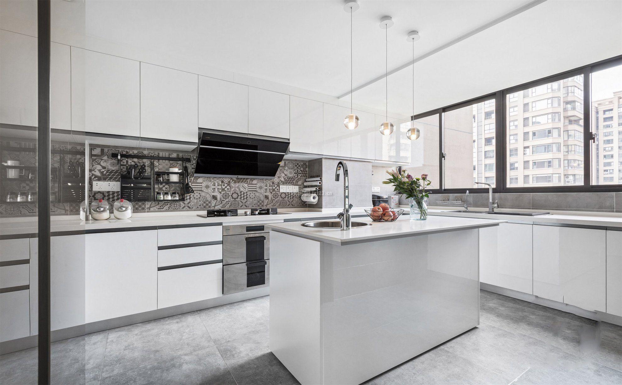 北欧风格白色厨房装修设计图片_装修123效果图