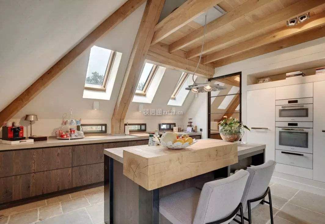 美式乡村风格斜顶阁楼厨房天窗设计图片图片