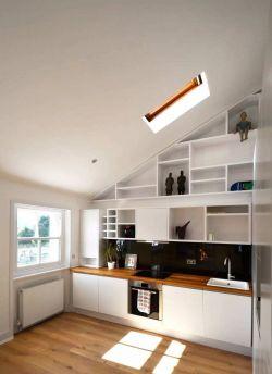 簡約風格斜頂閣樓廚房天窗設計效果圖