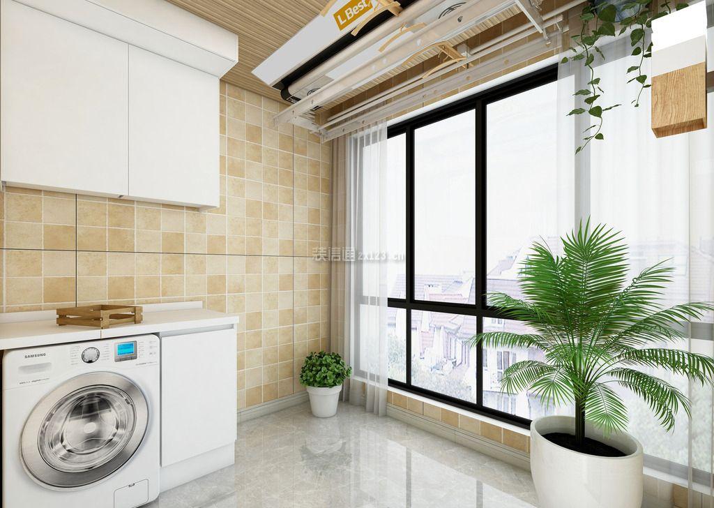 生活阳台洗衣房瓷砖背景墙壁装修效果图图片