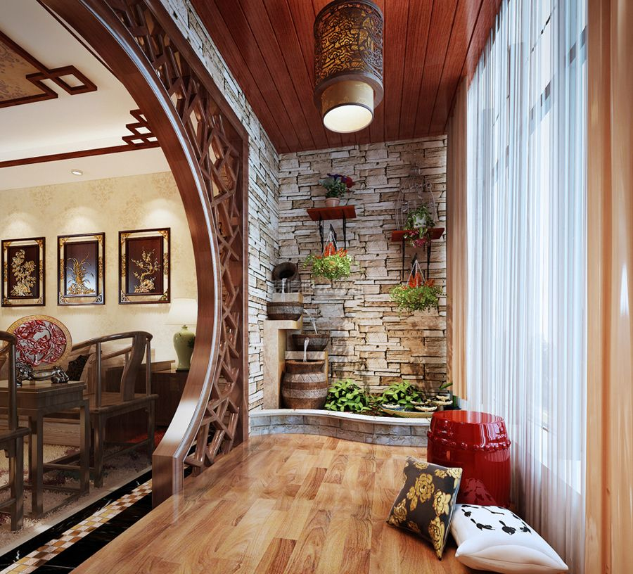 中式风格阳台墙壁搁板花架装修效果图