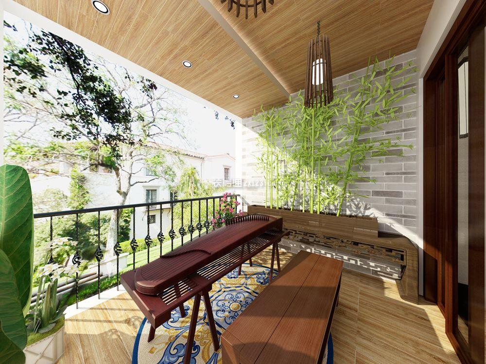 新中式风格阳台琴房墙壁装修效果图