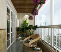 田园风格封闭式阳台墙壁装修效果图
