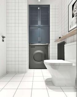 家裝小衛生間白色瓷磚鋪設裝修效果圖