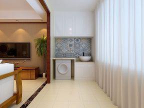 家装客厅阳台墙壁花纹瓷砖装修效果图