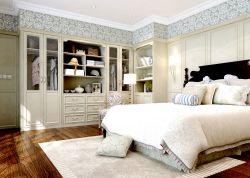 簡約歐式風格臥室米白色板式衣柜圖片