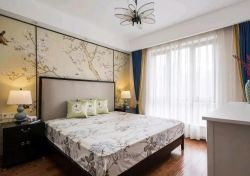 127平方米新房美式田園臥室背景墻圖片