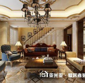 220平復式美式風格客廳復式樓梯效果-每日推薦