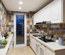 地中海家居厨房背景墙砖装修图片