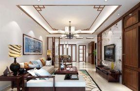 現代中式客廳吊頂效果圖 中式客廳墻紙