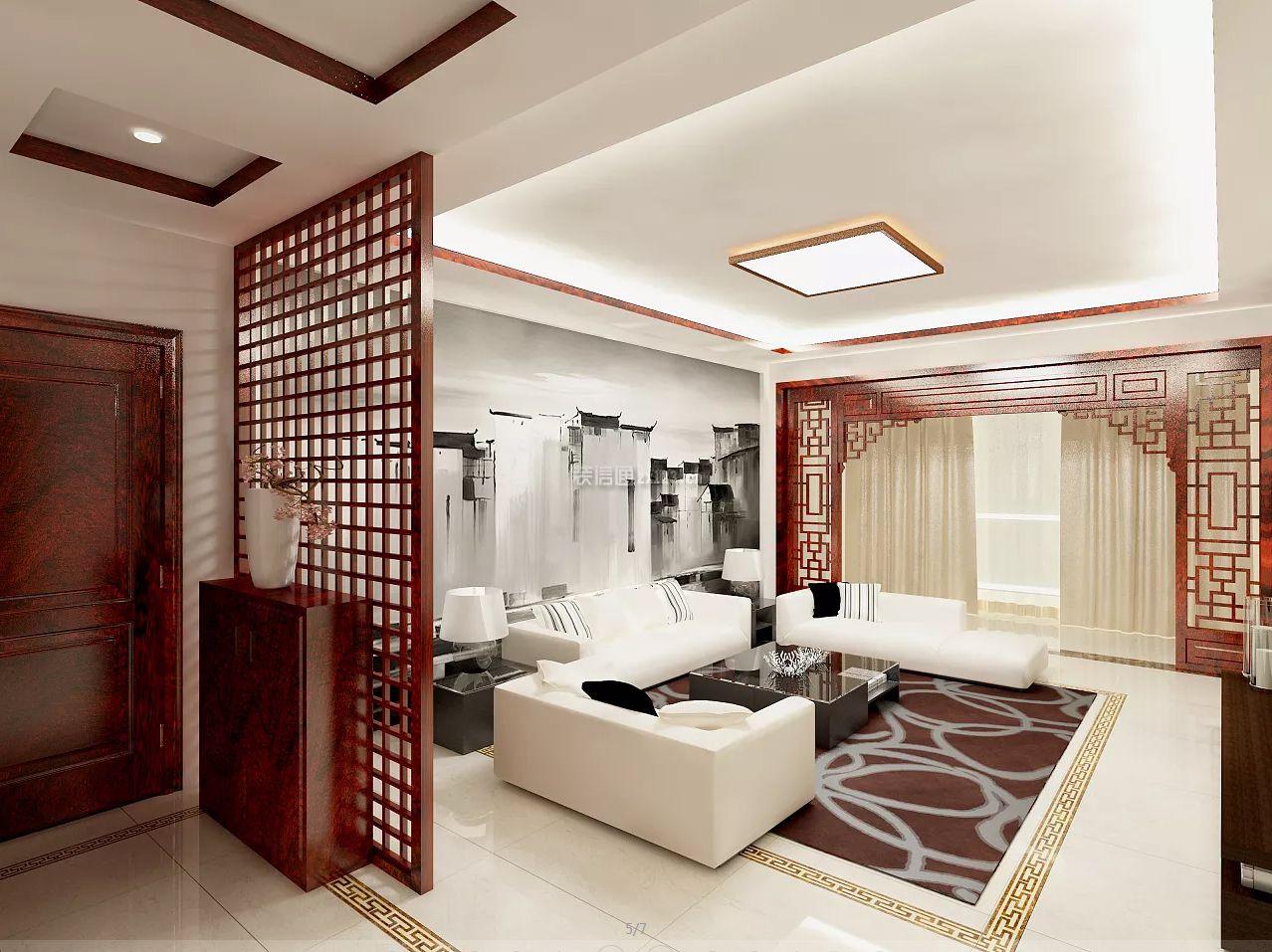 新中式风格客厅玄关隔断装修效果图图片