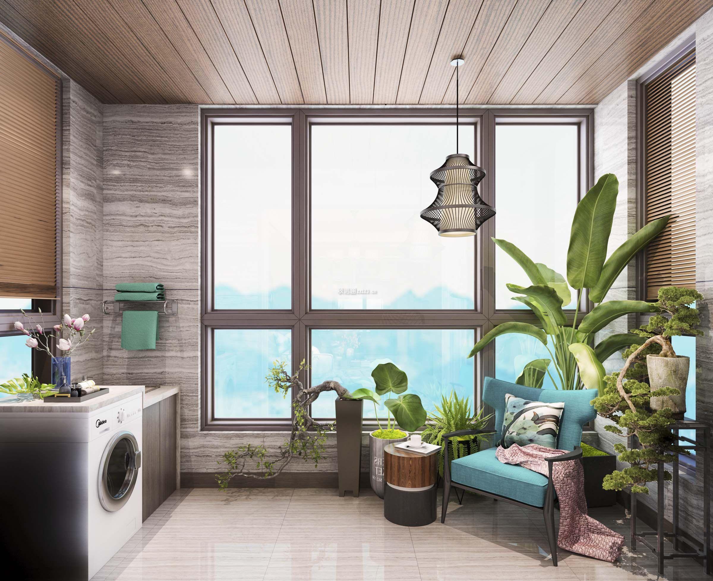 新中式风格封闭阳台洗衣房装修效果图