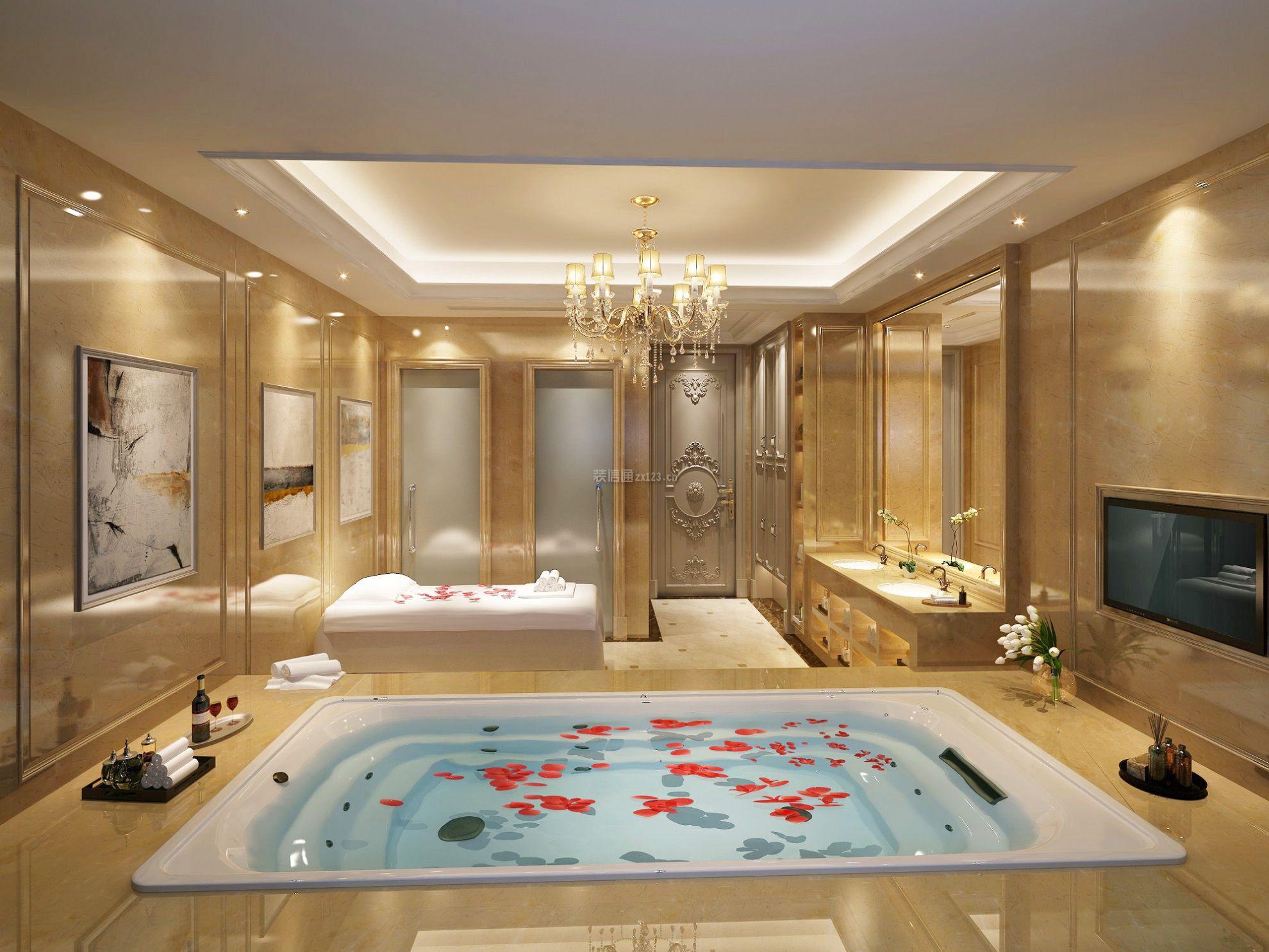 法式家居别墅浴室装饰图片大全欣赏_装修123效果图