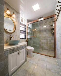 簡約美式風格衛生間瓷磚背景墻裝修圖片