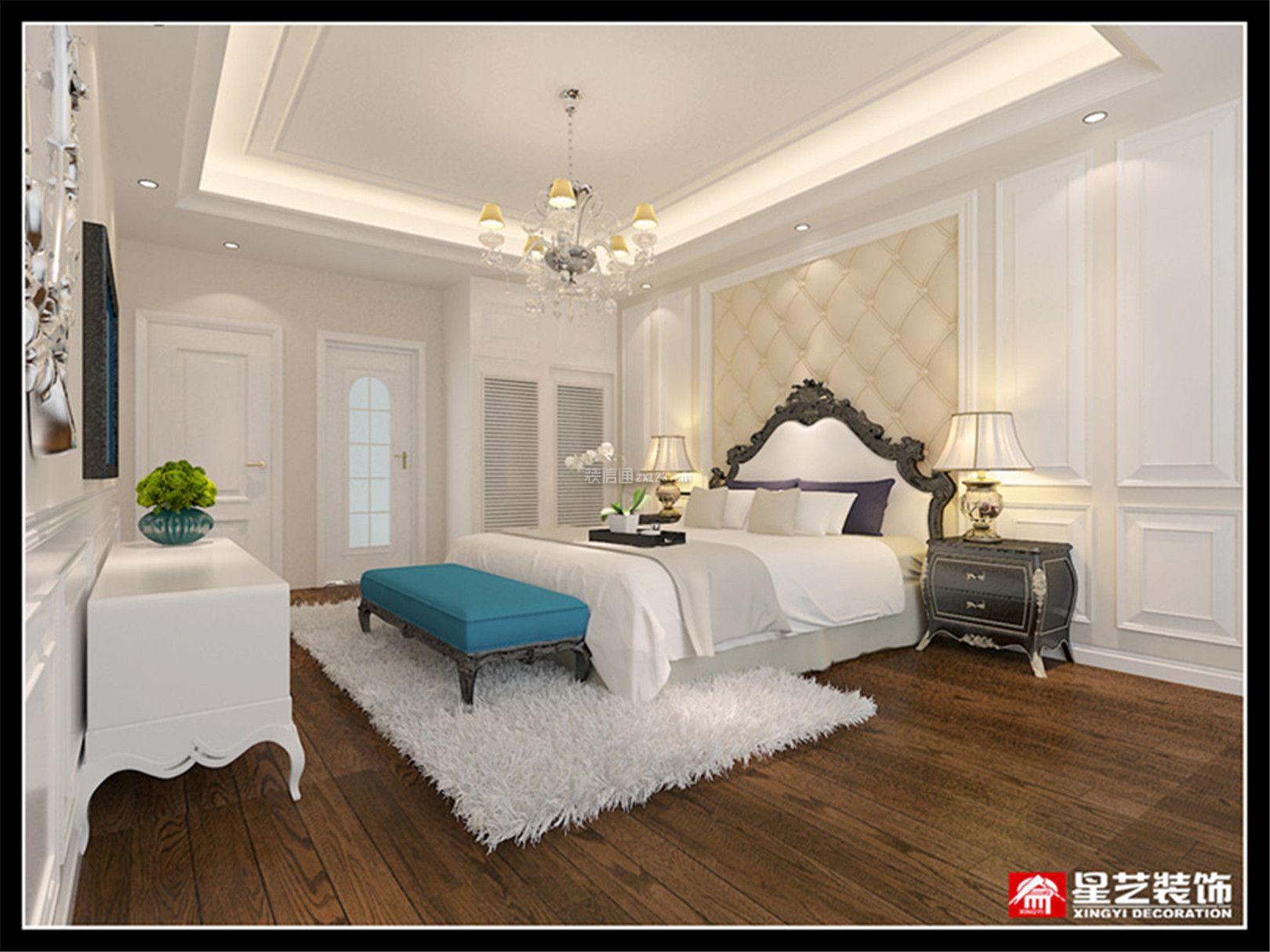 2018家庭大卧室床头软包墙装修设计效果图