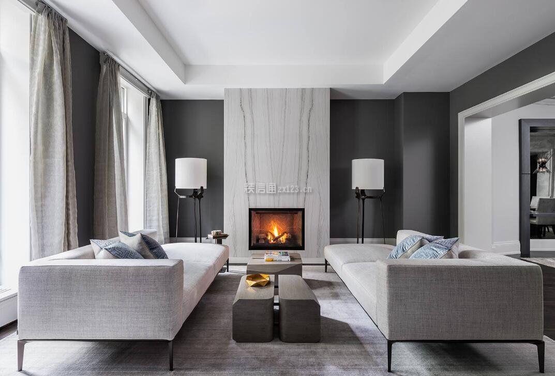 国外家庭欧式客厅落地灯效果图片_装修123效果图图片