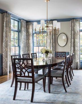 家庭饭厅椭圆形餐桌装修设计图片大全