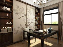新中式風格書房窗簾裝飾效果圖