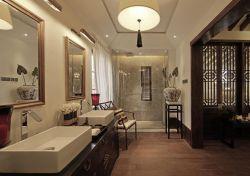 東南亞風格樣板房洗手臺鏡子效果圖片