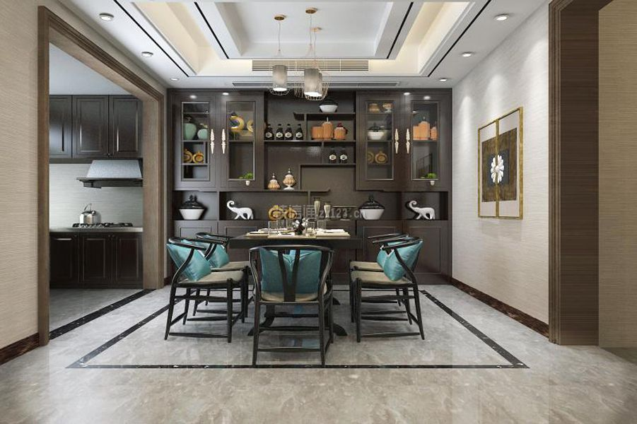 家装效果图 中式 2018新中式风格别墅餐厅背景墙装修效果图 提供者图片