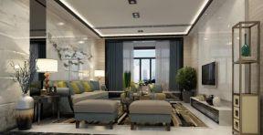 港式風格客廳效果圖 復式客廳窗簾效果圖