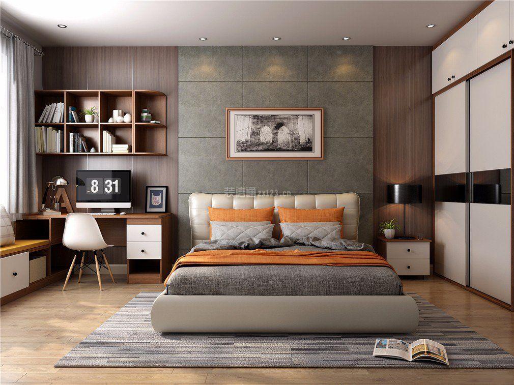 两房卧室书桌书柜装修设计图片_装修123效果图图片