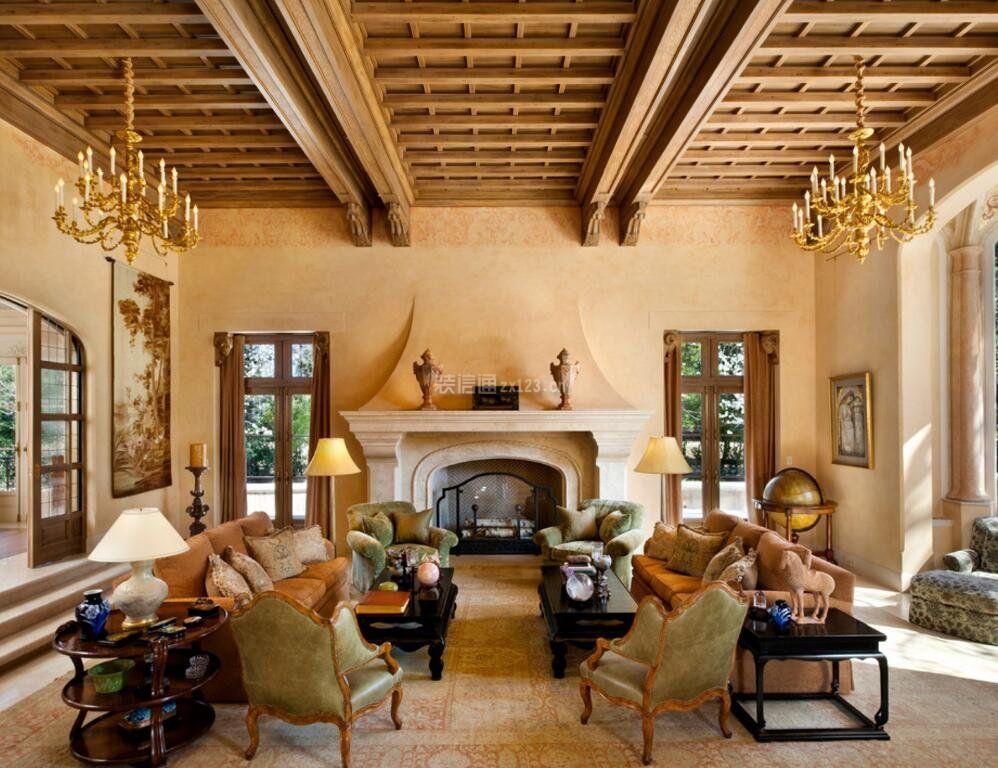 美式别墅别墅错层客厅吊顶实木效果图乡村房多功能图片